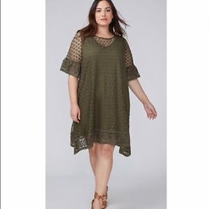 NWOT Lane Bryant Olive Green swing dress size 18